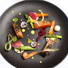Fish and vegetables on plate